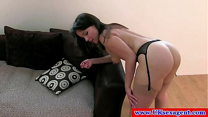 British casting amateur gets a mouthful of cum