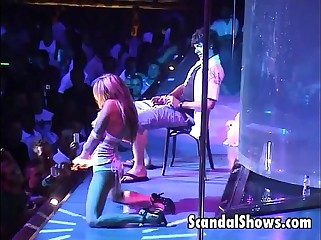 Sexy couple fucking at strip show