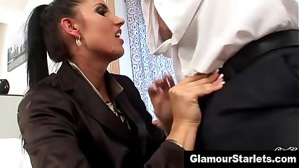 Clothed glam eager euroslut sucks dick