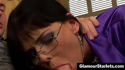 Clothed fetish glam slut in spex