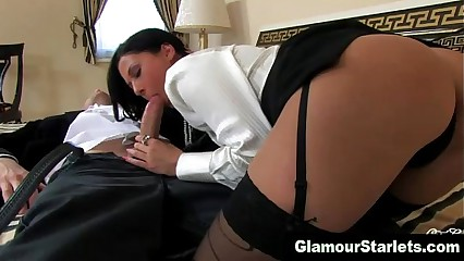 Clothed stockings hottie gets fucked