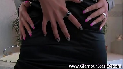 Glamorous clothed lesbians get hot