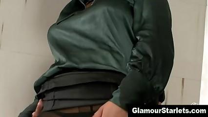 Satin wearing hottie gets fucked