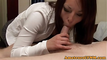 Dominating babe sucking cock in cfnm action