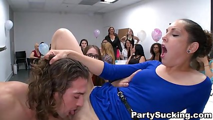 Deepthroat Party with Horny Gals