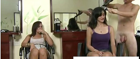 Cfnm women blow naked hairdresser