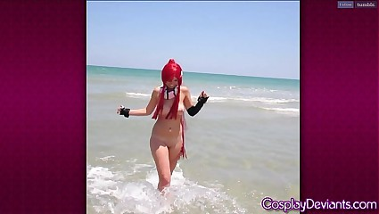 Cosplay yoko flashing at beach
