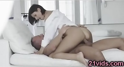 Sexy brunette Jennifer Jane riding cock