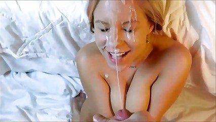 Amateur Hot blonde babe Facial cumshot